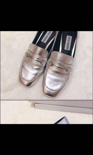 Steve Madden 銀色 真皮 樂福鞋