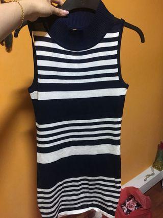 🚚 Navy blue Striped Dress