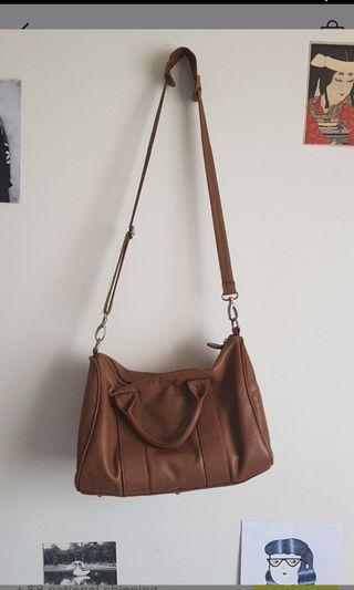 FAUX Leather Tan Duffle Style Bag