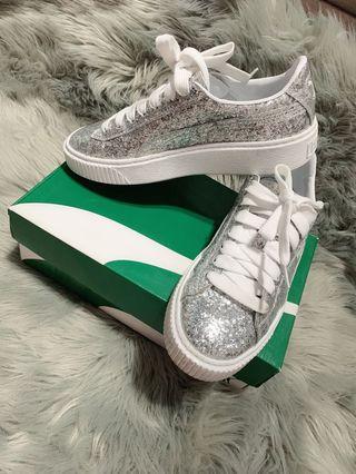 Puma Platform Glitter Sneakers Sliver