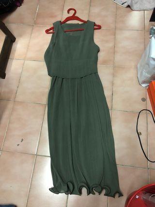 綠色雪紡洋裝