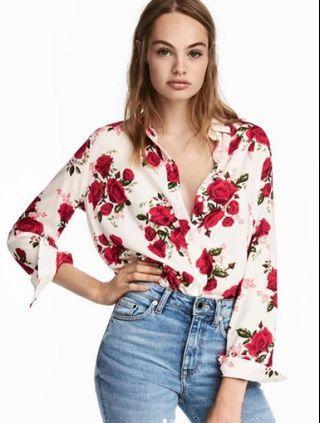 H&M Viscose shirt - white/rose