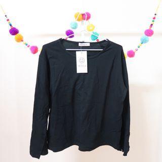 YES STYLE Black Slit Sleeve Shirt