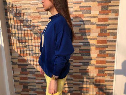 ★GIANNI VERSACE COBALT BLUE L/S 100% WOOL SWEATER