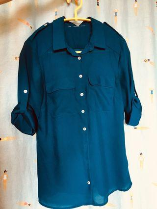 Roll up sleeve navy blouse