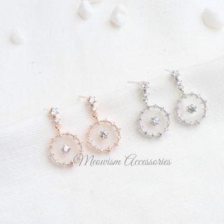 韓國懸浮閃石吊飾耳環