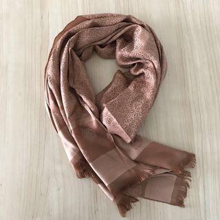Reversible brown Thai silk printed shawl/scarf