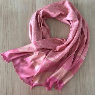 Reversible pink Thai silk printed shawl/scarf