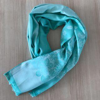 Reversible Tiffany-blue Thai silk floral shawl/scarf