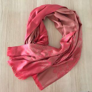 🚚 Reversible coral Thai silk floral shawl/scarf