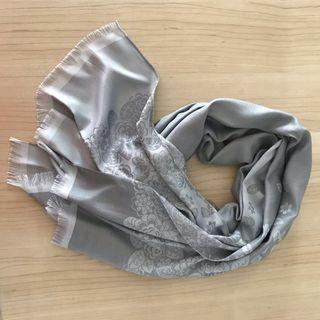 Reversible grey Thai silk floral shawl/scarf