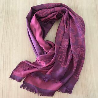 Reversible purple/pink Thai silk floral shawl/scarf