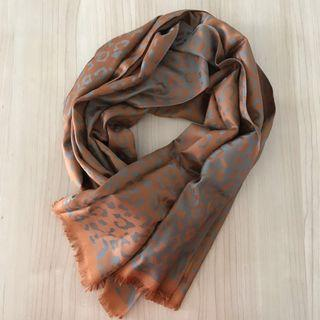 Reversible grey/brown Thai silk leopard-print shawl/scarf