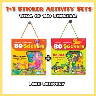 1 + 1 Kids 80pcs Sticker Sets - Dinosaur & Safari Animals Theme