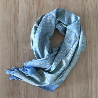 Reversible blue Thai silk leopard-print scarf/shawl
