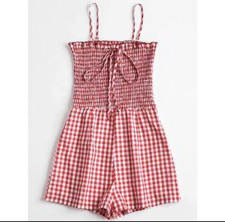 red checkered romper