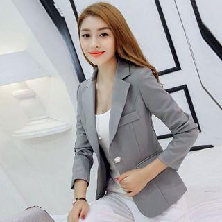 韓系女灰色西裝外套修身