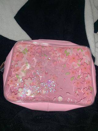 🌸粉紅色櫻花圖案袋/化妝袋/萬用袋