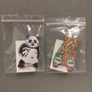 包郵 刺繡 扣針 熊貓 啡熊
