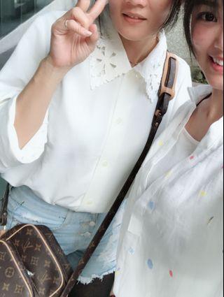 韓式鏤空襯衫領白色造型好穿搭文青復古風古著
