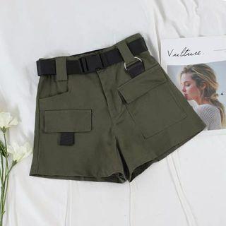 🚚 全新含吊牌 綠色鬆緊工裝褲 短褲