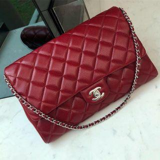 ✖️SOLD in a heartbeat!✖️ Superb Deal! Chanel Clutch on Chain in Burgundy Caviar SHW