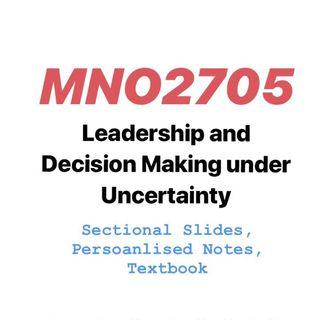 MNO2705 Leadership and Decision Making under Uncertainty