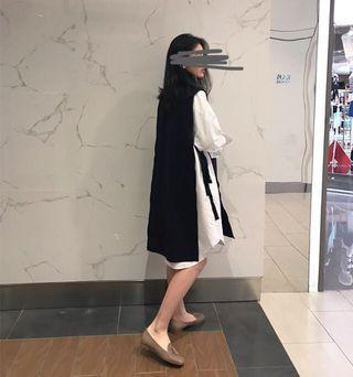 側開叉 綁帶針織長版背心裙