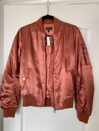 Topshop Shiny Silk Bomber Jacket Pink