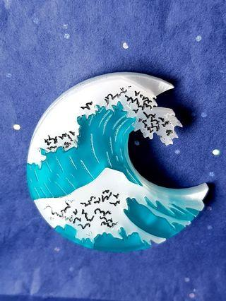 🇬🇧BNIB🇬🇧 Hokusai-Inspired 🌊 GREAT WAVE 🌊 Brooch