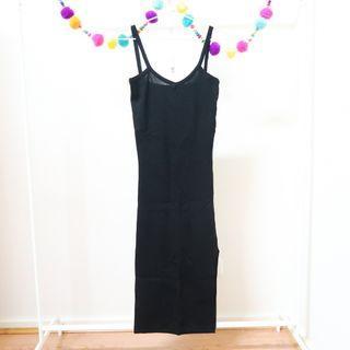YESSTYLE Black Knit Cami Bodycon Midi Dress with Slit