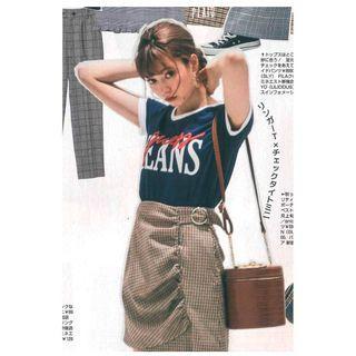[二手]日本正品 Snidel 格子抓皺腰帶造型短裙