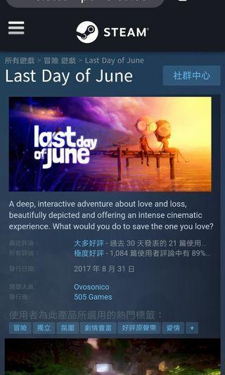 Last Day of June 極高分劇情遊戲 Steam 正版全球 Key