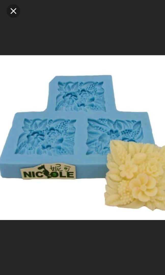 (2個/2pc) 硅膠蠟燭手工梘模具mold (花)