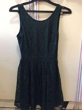 F21 Dark Emerald Green Lace Dress with crossback