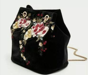 Zara TRF Embroidered Velvet Handbag