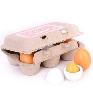 (Ready Stock)SN072 - Realistic Wooden Eggs with Crate Set - Cooking Role Play Educational Toy