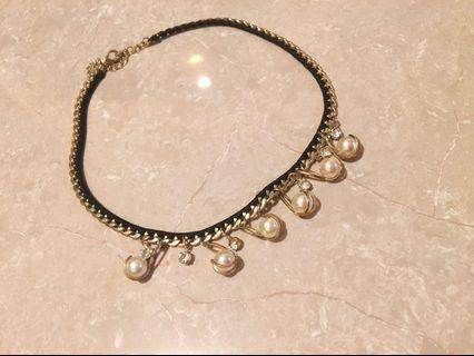 Golden+Pearl Necklace 珠頸鏈