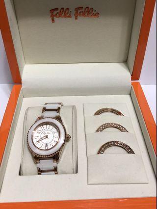 母親 🎁Folli Follie 🌹金殻閃石圈面時款手錶 *可換3個面圈 屯門兆康 愉景新城759交收