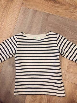 🚚 Beams mini小男童八分袖條紋針織上衣90公分 Zara H&M gap Uniqlo Muji akachan阿卡將