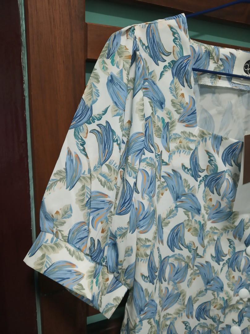女裝雪紡短袖 - 樹葉花紋 (100% NEW)