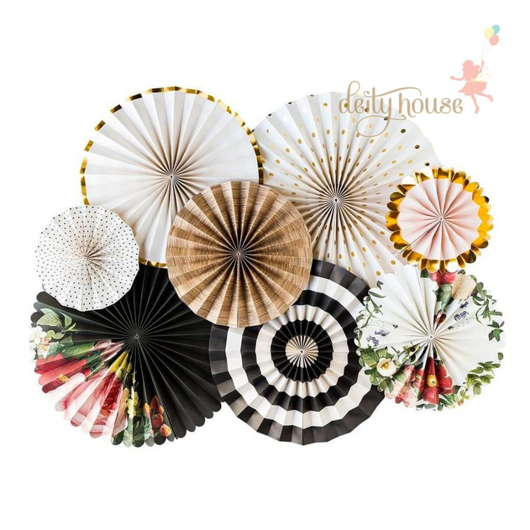 A Set of Paper Fan Pinwheel - Rustic Floral
