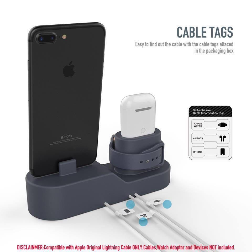 AHAstyle 3in1 charging stand 三合一充電座(For AirPods/Apple Watch/IPhone) 灰色/藍色✨行貨