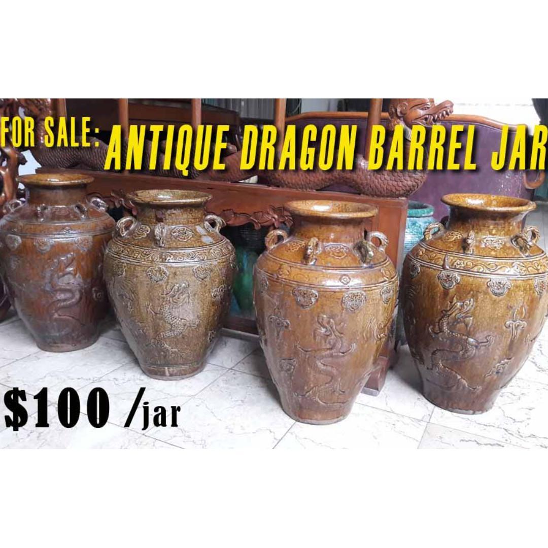 Antique Dragon Barrel Jar (Srirejeki)