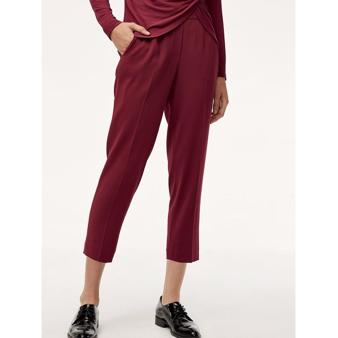 Aritzia Babaton Conan Pant Terado size 00 and 0 Barolo colour (burgundy)