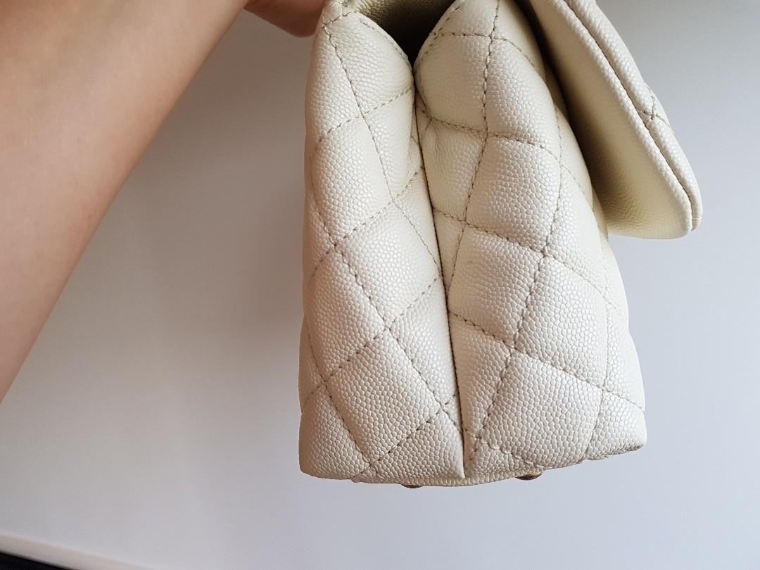 Authentic Chanel Coco Handle Mini in Ivory -White (Flap Bag)