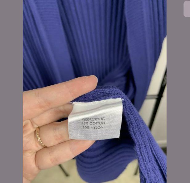 Autograph XL/22 blue purple women chunk knit vest jacket winter hoodie plus size