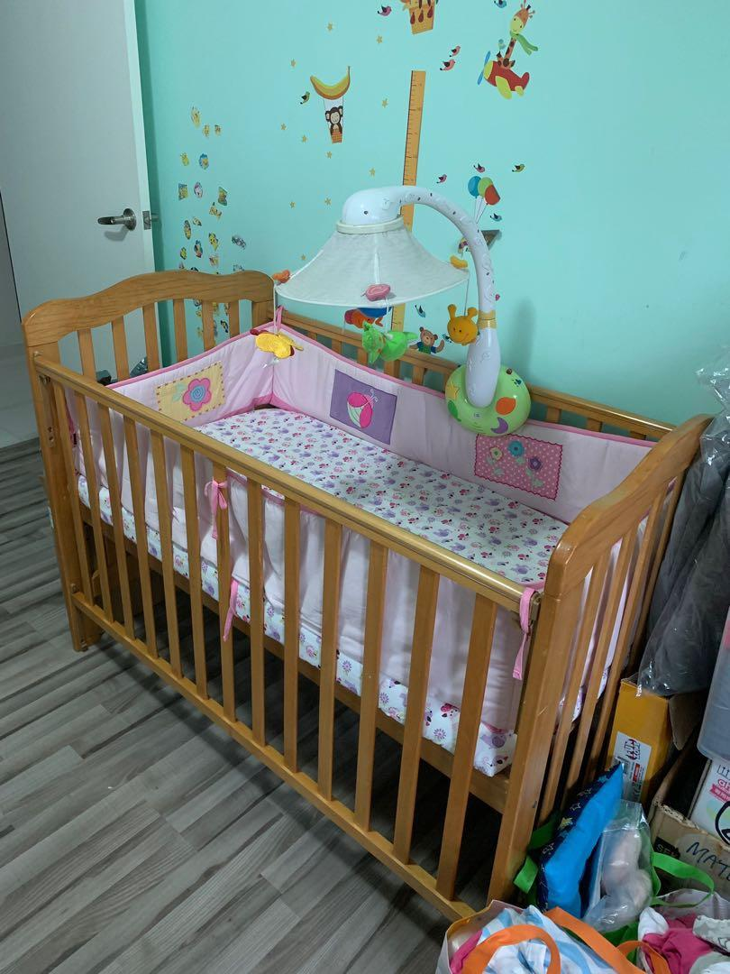 Baby Cot free musical mobile n mattress