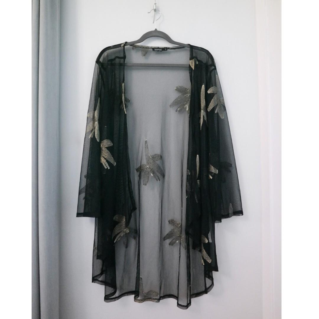 Boohoo Black Gold Kimono Sheer Jacket Cardigan Embroidered Metallic Floral