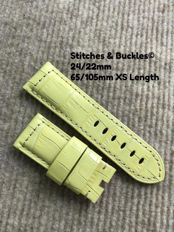 Buy 1 Free 1 Opening Special! 24/22mm XS Short Length Calf Leather Straps for Ladies . Fits 44mm Panerai Models